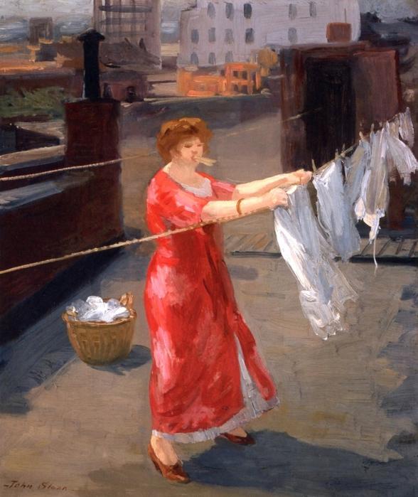 5187787_syshkaRed_Kimono_on_the_Roof_John_Sloan__1912 (588x700, 301Kb)