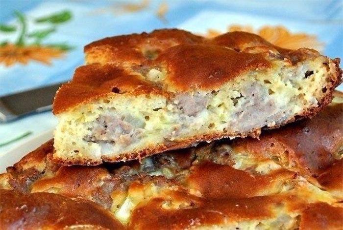 Пирог с фаршем и картошкой на кефире в духовке рецепт