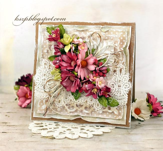 Скрапбукинг цветочная открытка 96