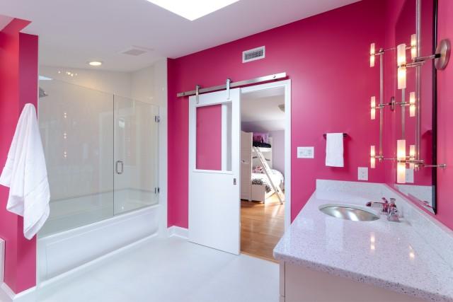 Дизайн ванных комнат розовая