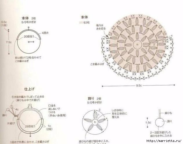 Кошельки крючком для фермуара. Схемы (2) (630x497, 130Kb)