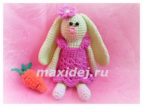 Плюшевый заяц с длинными ушами крючком схема