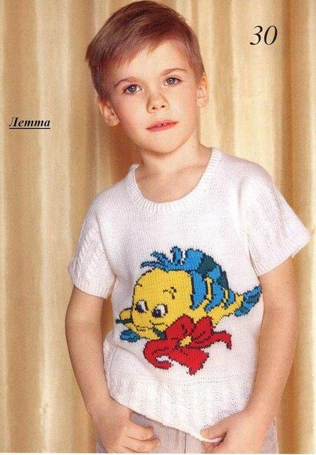 летняя вязаная кофточка для мальчика (445x640, 57Kb)