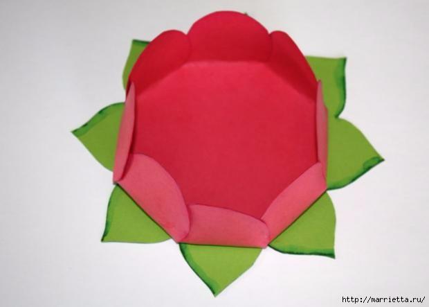 Корзиночка с цветами из бумаги. Поделки с детьми
