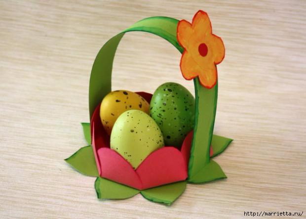 Корзинка из бумаги для пасхального яйца. Творчество с детьми (20) (620x443, 114Kb)