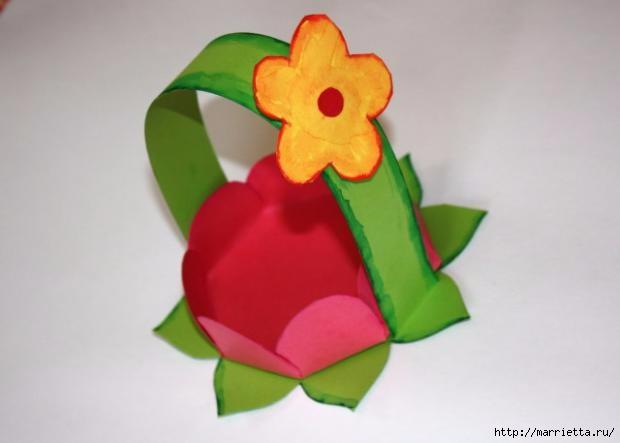 Корзинка из бумаги для пасхального яйца. Творчество с детьми (21) (620x443, 71Kb)