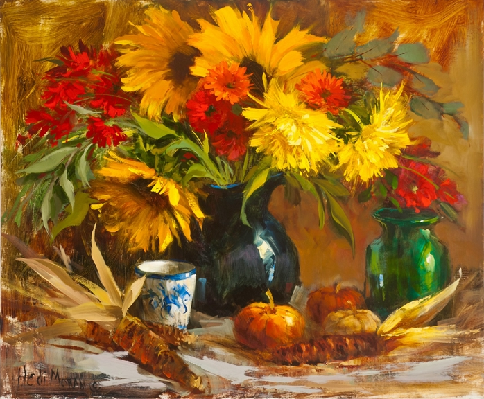 (LR) Sunflower Medley (by Hedi Moran) Available at Indigo Fine Art Gallery (698x576, 387Kb)
