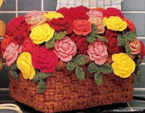 Корзина с розами крючком