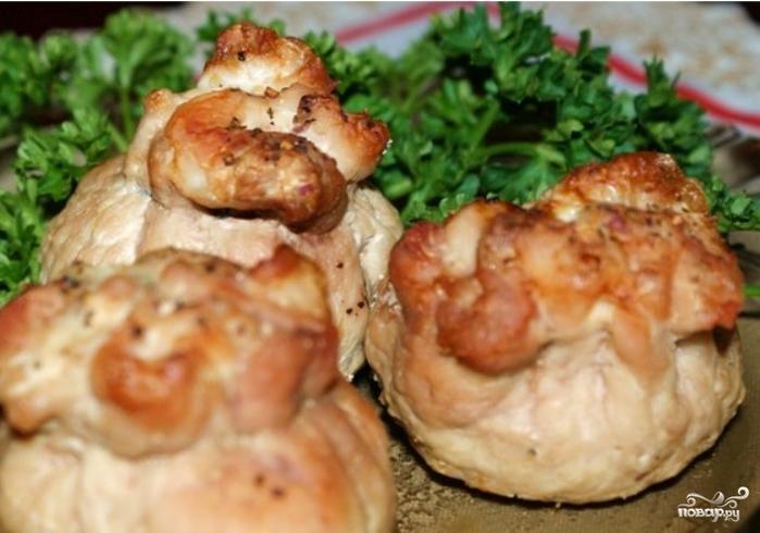 Как сделать отбивные с грибами и сыром в духовке