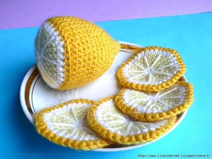 Как связать крючком лимон