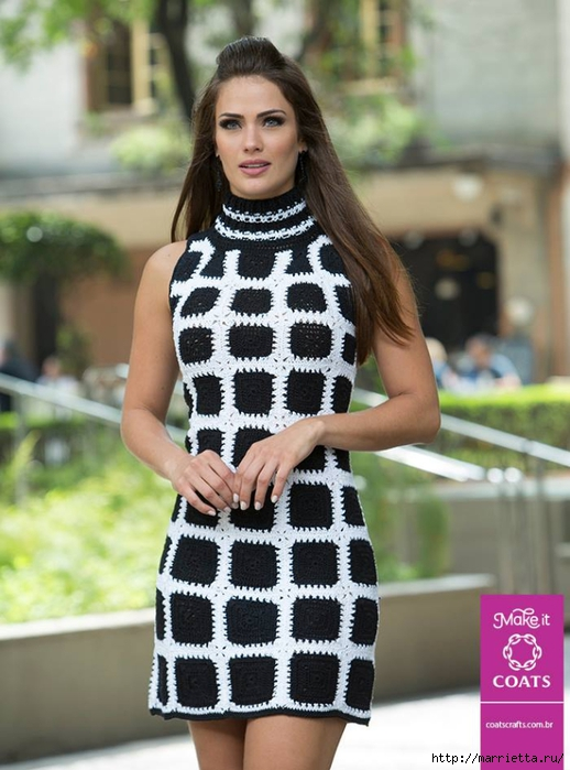 Платье крючком из черных квадратов с белой обвязкой (1) (518x700, 249Kb)