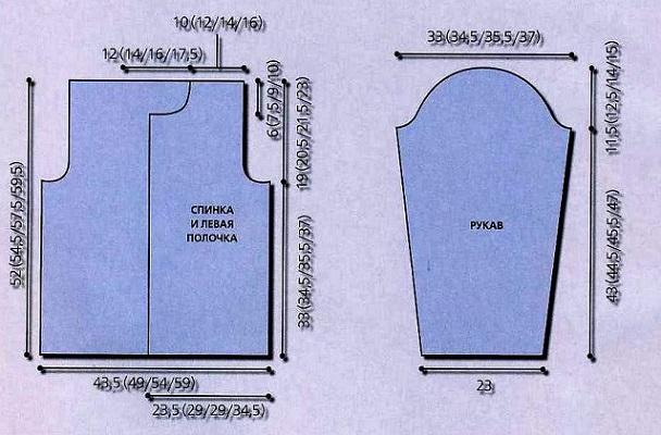 Выкройка кофты на 58 размер для вязания