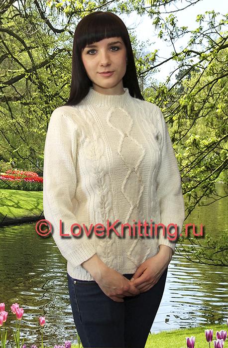 03 Автор Пуловер с косами МТ2 (458x700, 466Kb)