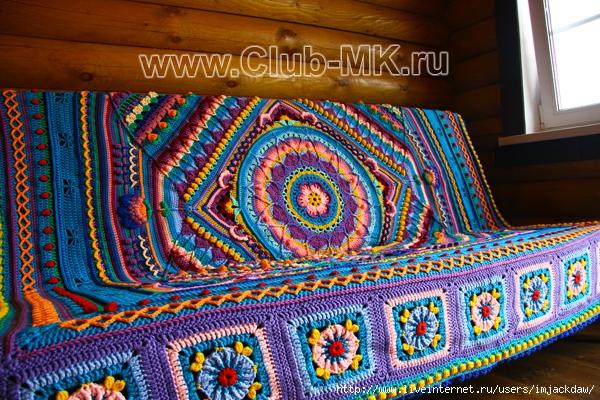 Вязание покрывала из шнура 40