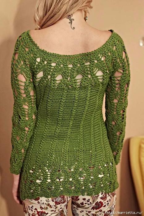 Летняя блуза с длинными рукавами крючком (1) (466x700, 307Kb)