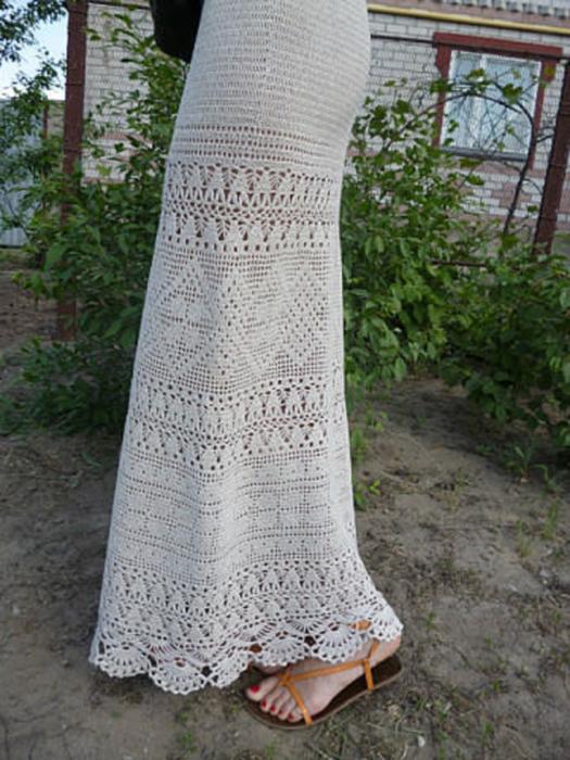 юбка крючком филейное вязание схема