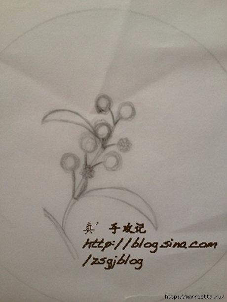 Объемная вышивка. Ромашки, одуванчики, хризантемы и мимоза (22) (460x613, 88Kb)