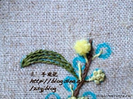 Объемная вышивка. Ромашки, одуванчики, хризантемы и мимоза (34) (460x345, 122Kb)