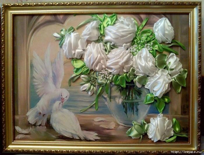 Розы из лент - потрясающая объемная вышивка! (мастер-класс)