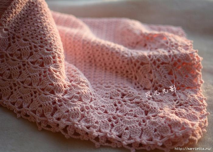 Розовый детский плед крючком. Схема (4) (700x499, 274Kb)