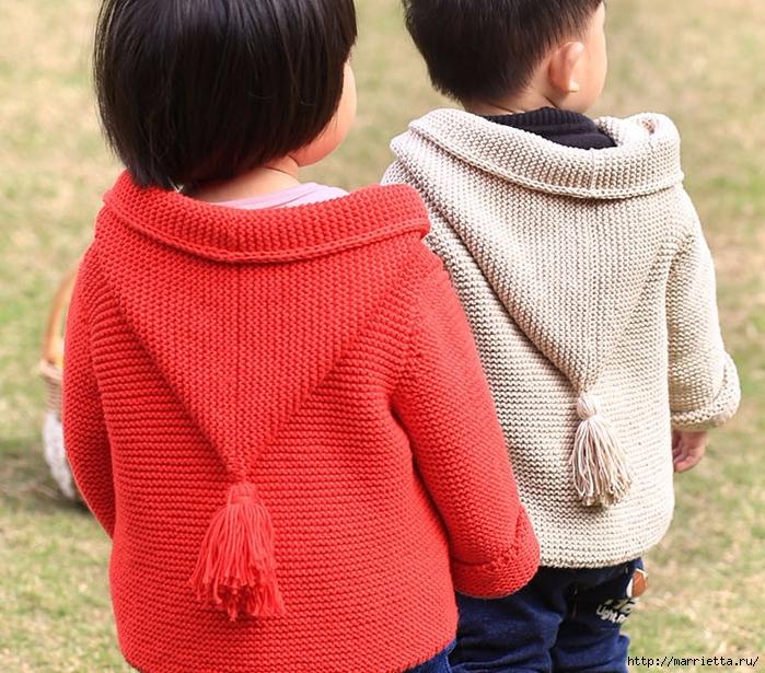 Курточка с капюшоном спицами для малыша (5) (700x615, 400Kb)