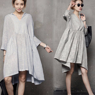 9Wholesale-Free-shipping-Women-s-Clothing-New-2015-women-summer-dress-three-quarter-sleeve-casual-linen (310x310, 75Kb)