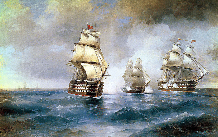 01-Aivazovsky,_Brig_Mercury_Attacked_by_Two_Turkish_Ships_1892 (700x441, 532Kb)