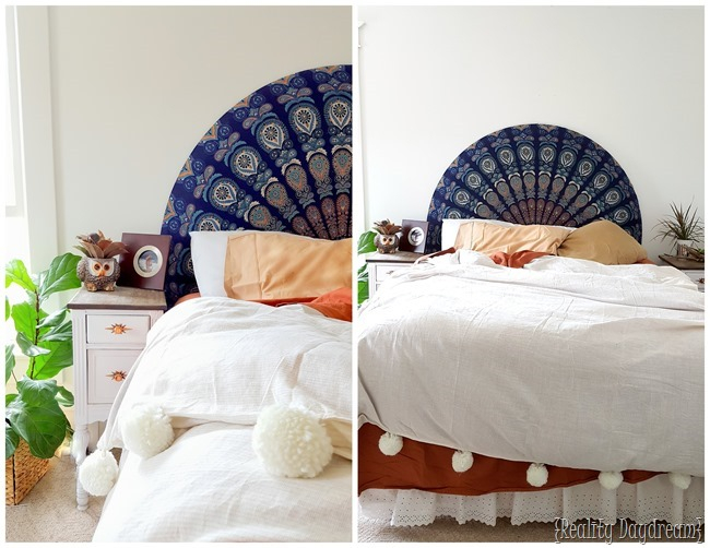 Easiest-Headboard-EVER...-Use-a-round-beach-throw-to-upholster-a-half-curcle-headboard-Reality-D (650x502, 260Kb)