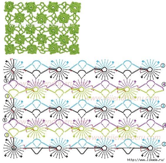 grilles pour une Г©tole ou un plaid printanier au croche20t (564x553, 267Kb)