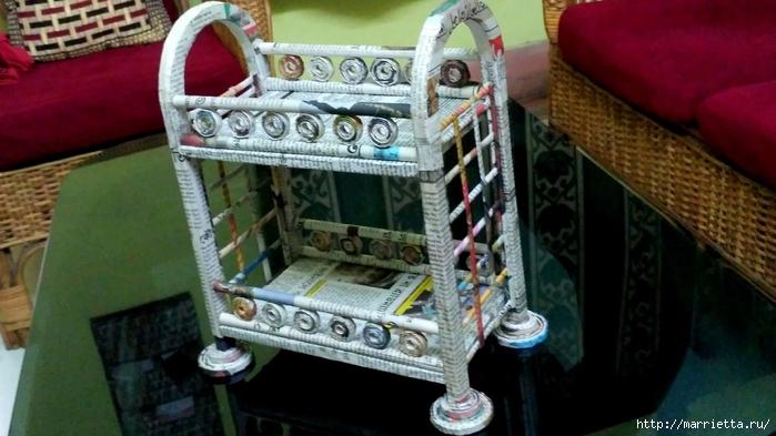 Декоративная полочка из газетных трубочек. Мастер-класс (5) (700x393, 214Kb)