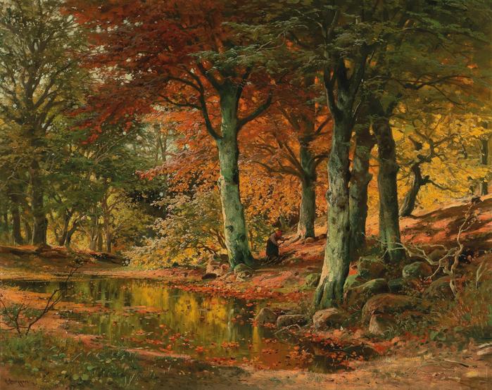 Alois Arnegger Woodland Landscape in Autumn (700x554, 630Kb)