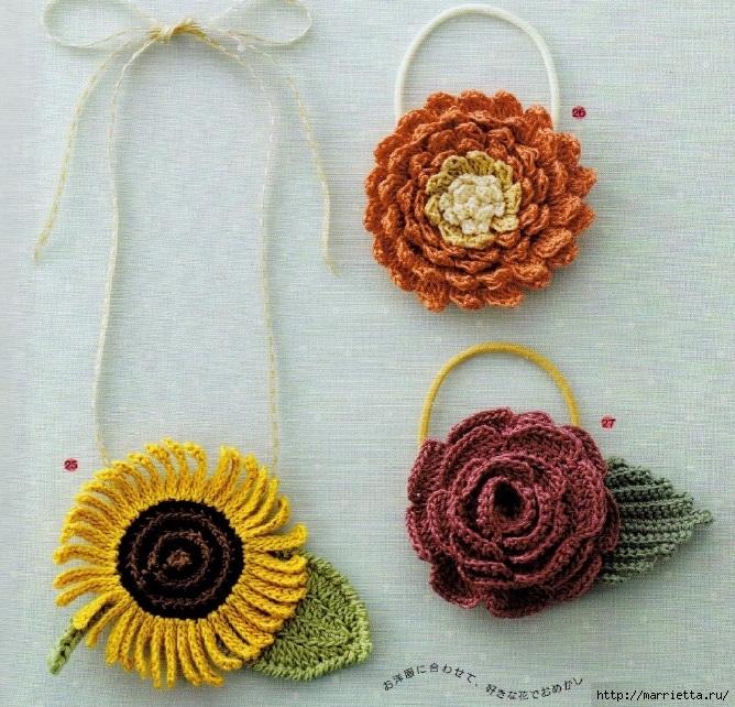 Цветы крючком - украшаем соломенную шляпку (2) (668x642, 413Kb)