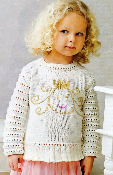 Красивый пуловер спицами для девочки4 лнт