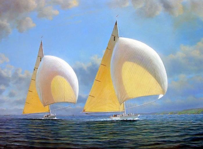 Tim-Thompson.-Americas-Cup-1937-Trials-RAINBOW-Powering-RANGER-Downwind.-30h40-dyuymov (700x514, 334Kb)