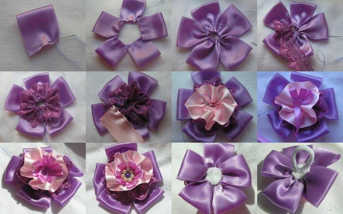 Цветок из ленты пошаговое