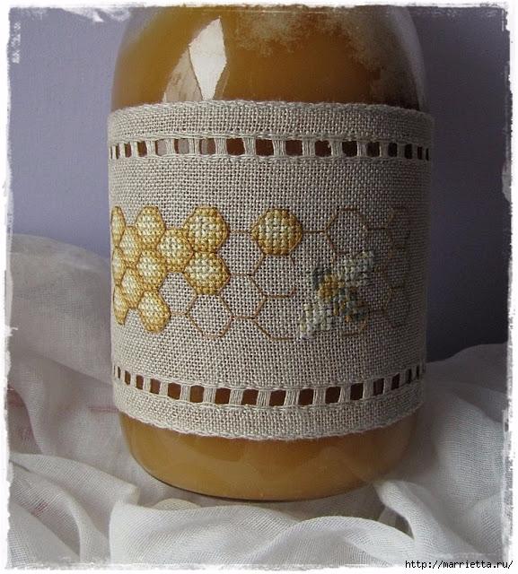 Красивая вышивка для украшения баночек с медом (5) (577x640, 286Kb)