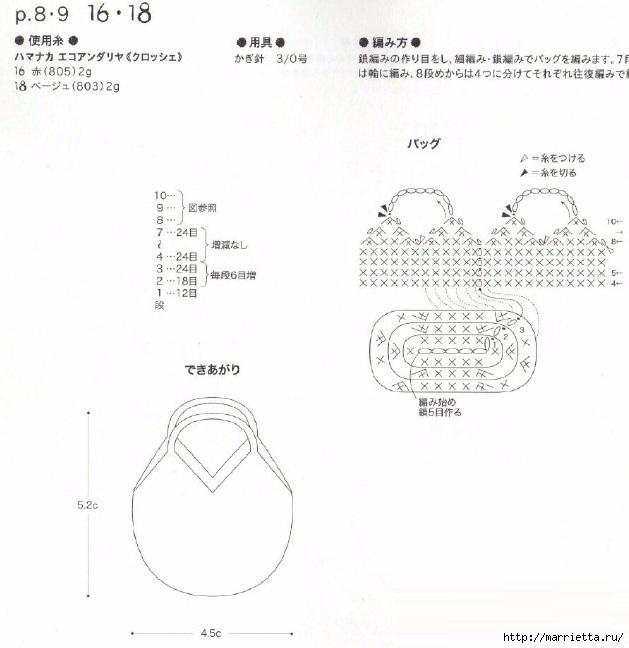 Схемы вязания шляпки и сумочки для куколки амигуруми (1) (629x648, 175Kb)
