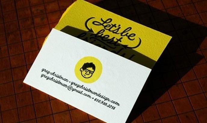 Желтый цвет в дизайне визитных карточек