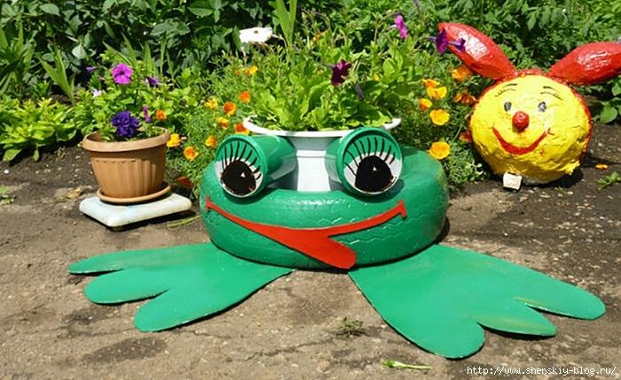 Как сделать лягушку из покрышки фото