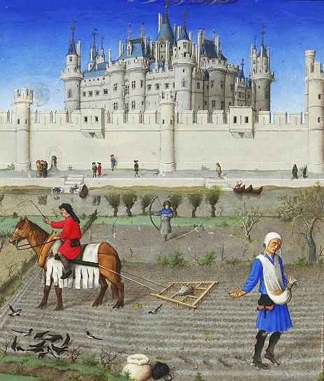 Октябрь Сев озимых. Место — поле напротив замка Лувр, (теперь набережная Малаке). Вид от Отеля Нель (H?tel de Nesle), парижской резиденции герцога. (464x545, 171Kb)