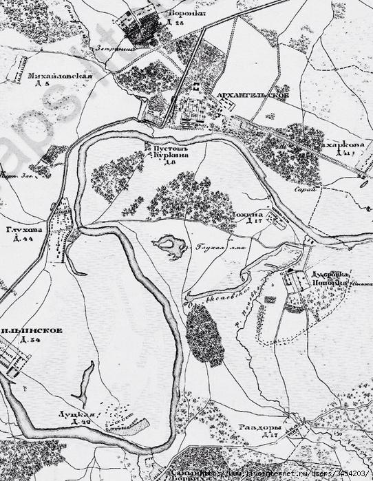 Рис.2.2.2.1 Карта 1902. Небольшое поместье Архангельское ничего из себя не представляло. Обратите внимание на изгиб Москвы-реки (542x700, 379Kb)
