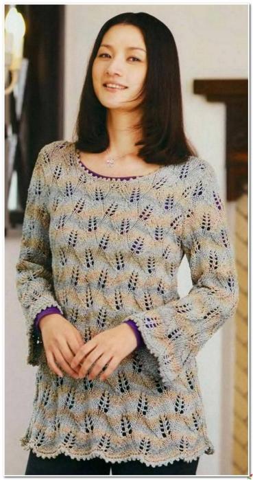 Вязание спицами. Пуловер листиками./3071837_181 (369x700, 201Kb)