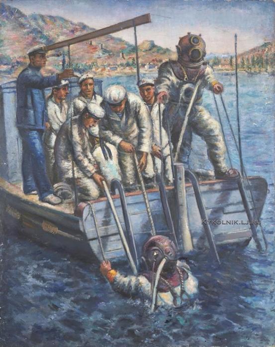 Зефиров Константин Клавдианович (1879-1960) «Водолазы. (ЭПРОН)» 1930 (553x700, 436Kb)