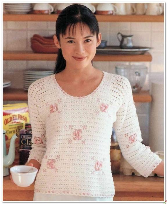 Пуловер нежный, связанный крючком с цветочными мотивами. схема вязания/3071837_381 (575x700, 265Kb)