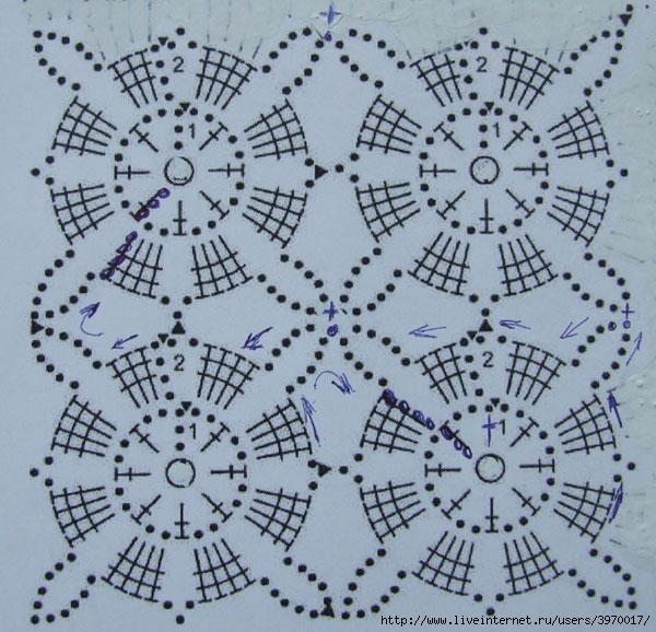 Безотрывное вязание квадратные мотивы 8