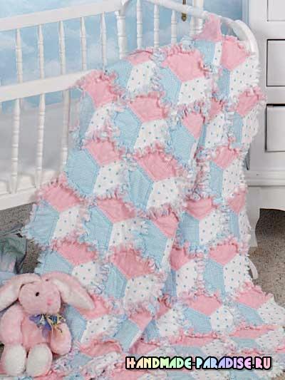 Лоскутное одеяло «Кубики» в технике пэчворк (2) (400x533, 185Kb)