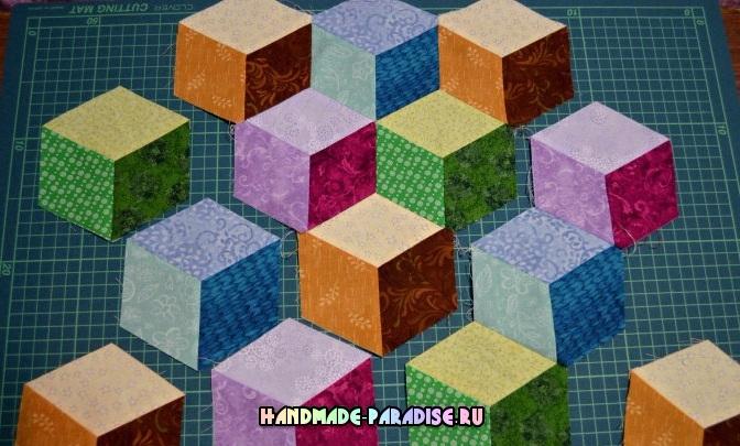 Лоскутное одеяло «Кубики» в технике пэчворк (20) (672x405, 324Kb)