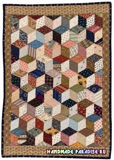 Лоскутное одеяло «Кубики» в технике пэчворк (36) (391x550, 313Kb)