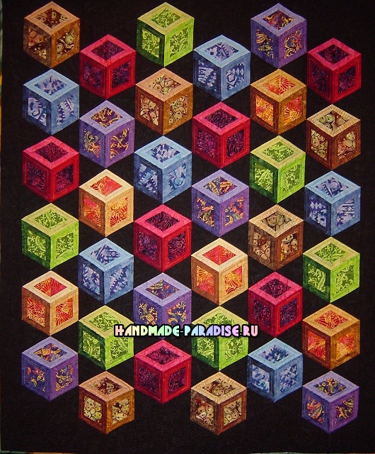 Лоскутное одеяло «Кубики» в технике пэчворк (38) (530x640, 524Kb)