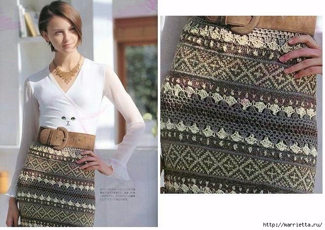 Жаккард крючком. Схемы вязания стильной юбки (8) (661x469, 244Kb)